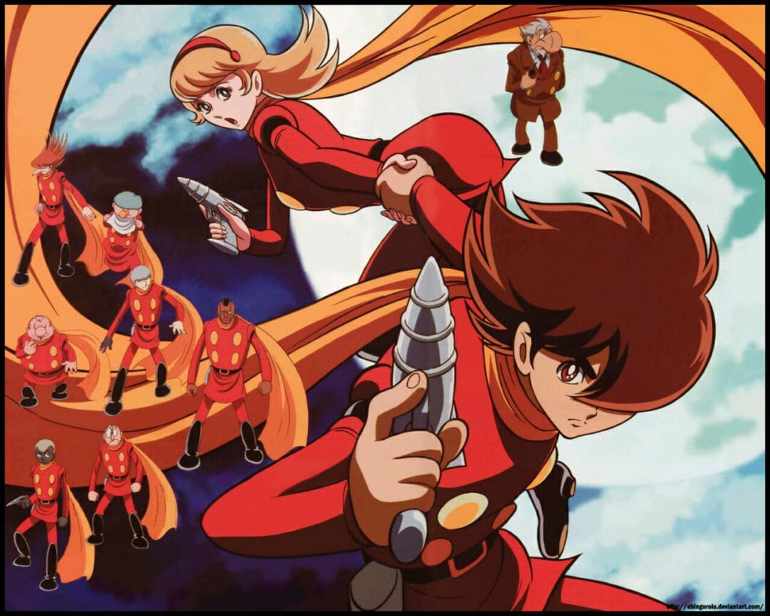 The members of Cyborg 009, dressed in red uniforms, pose against a blue sky.