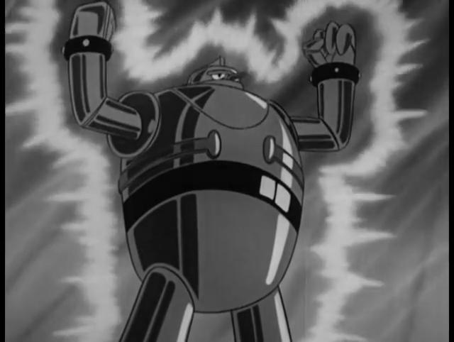 Giant robot Gigantor poses as light radiates from his body