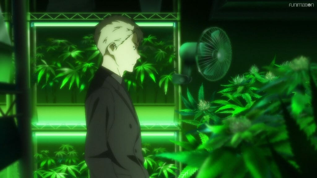 Screenshot from Ikebukuro West Gate Park that features a blonde man in a suit, who is standing in a room containing numerous cannabis plants.
