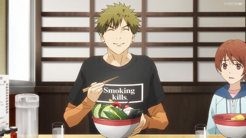 """Screenshot from Ikebukuro West Gate Park that features a blonde man wearing a black shirt that says """"Smoking Kills,"""" who is smiling as he eats a bowl filled with fruits. A young woman with brown hair looks at him with a shocked expression."""