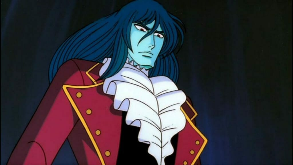 Still from The Fantastic Adventures of Unico that depicts a black-haired man in a fancy red coat, who glares evilly down at an unseen character.