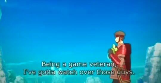 """Distant side-view shot of a brown-haired man wearing red. Subtitle: """"Being a game veteran, I've gotta watch over those guys."""""""
