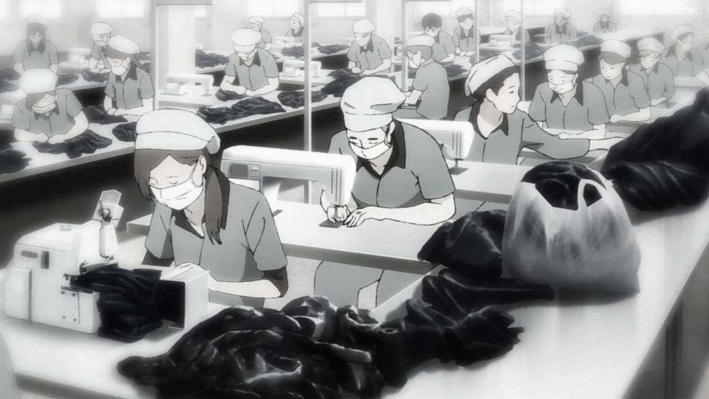 Ikebukuro West Gate Park Episode 5 that depicts a factory assembly line, as numerous women sit at sewing machines.