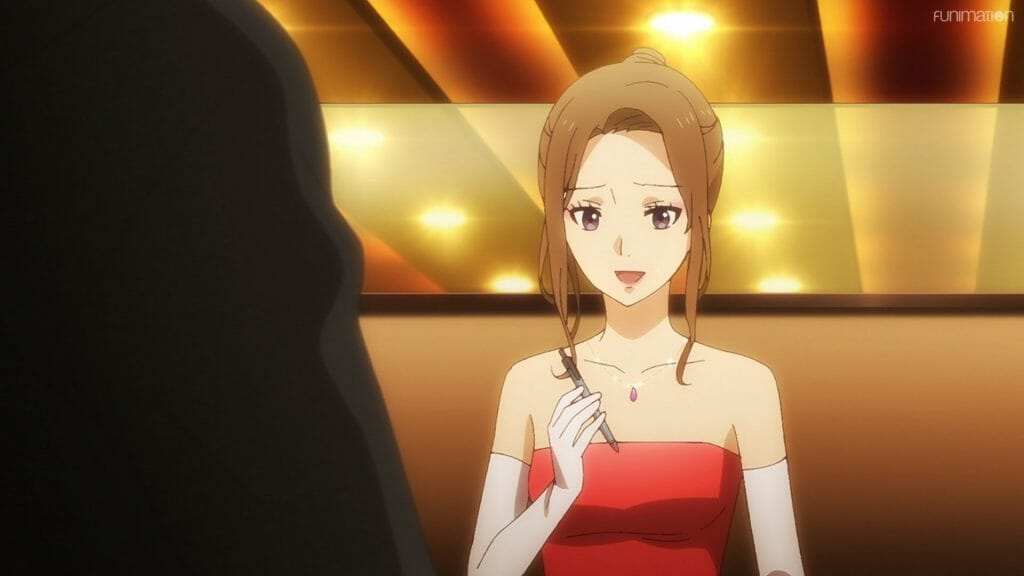 Ikebukuro West Gate Park Episode 5 that depicts a brown-haired girl in a red dress with white opera gloves. She smiles sadly as she holds a dried-out pen.
