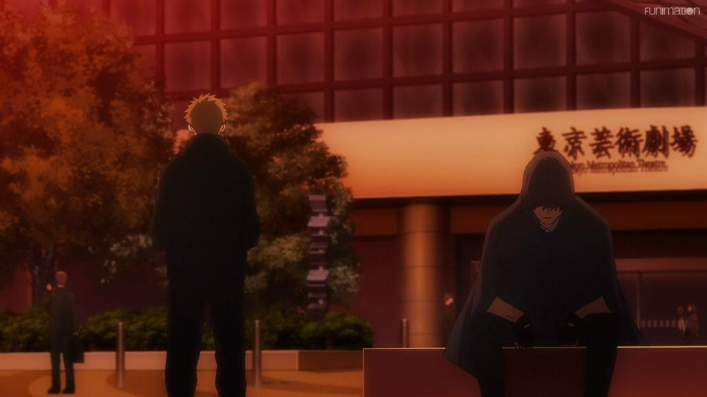 Still from Ikebukuro West Gate Park that depicts a man in a black hoodie who is sitting on a bench at sunset. He's talking to a man behind him, who is facing away.
