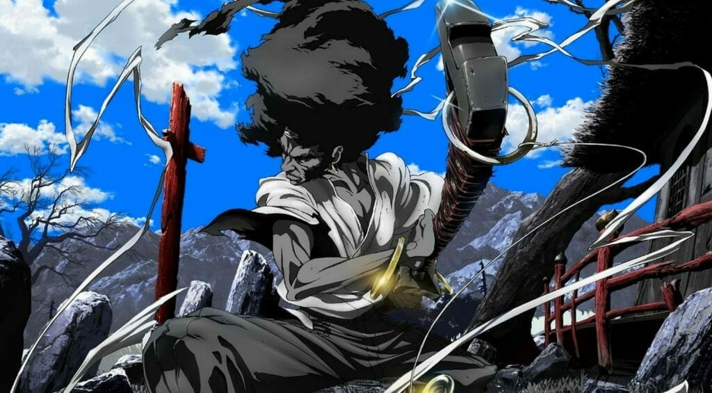Promotional image for Afro Samurai, showing the main character about to draw his sword