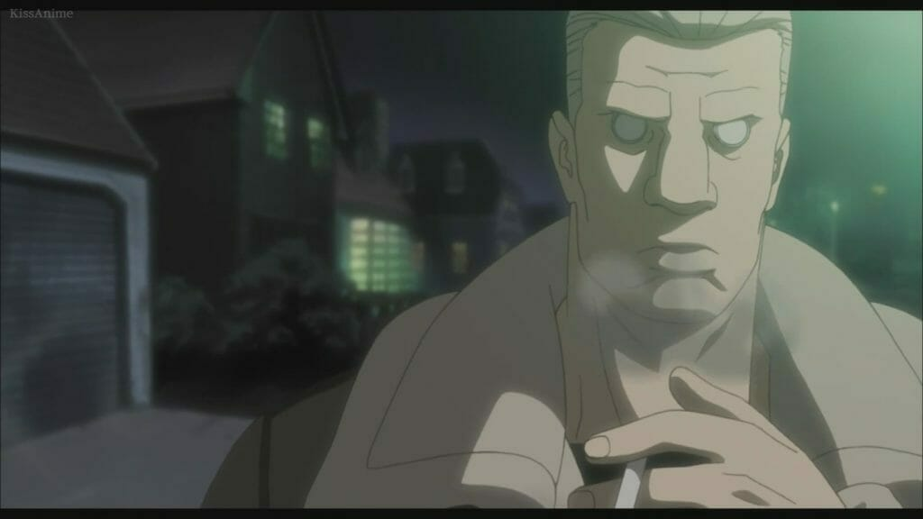 A blonde man with cybernetic eyes smokes a cigarette.