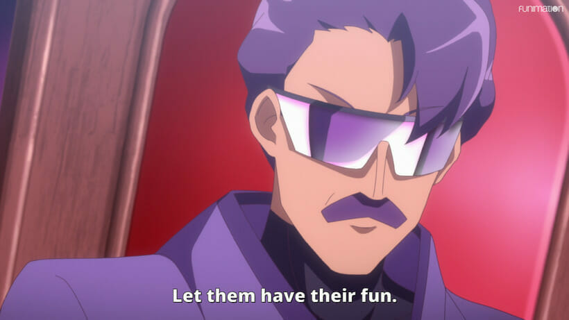 Still from Battle Athletes Victory ReSTART! that depicts a purple-haired man wearing retro-styled mirror shades.