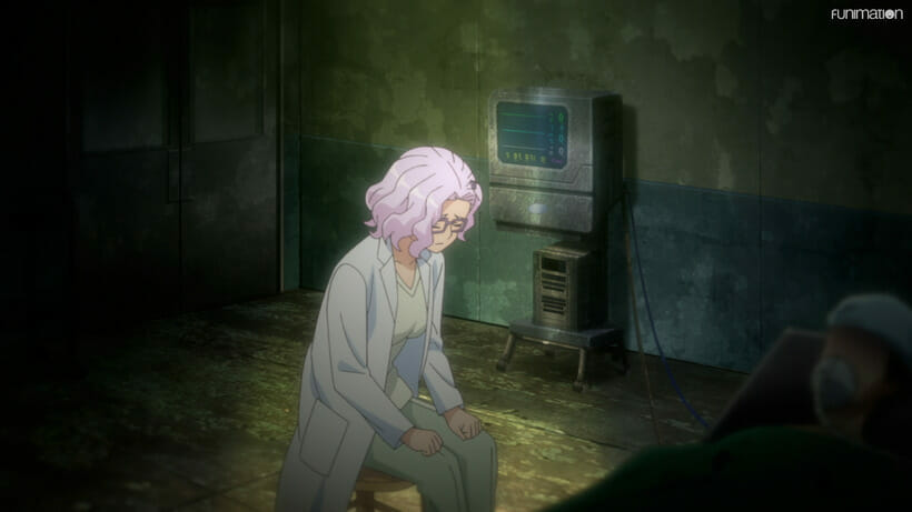 Still from Battle Athletes Victory ReSTART! that depicts a pink haired woman wearing glasses and a doctor's coat. She is slumped in a chair in a run-down medical office, a pained expression on her face.