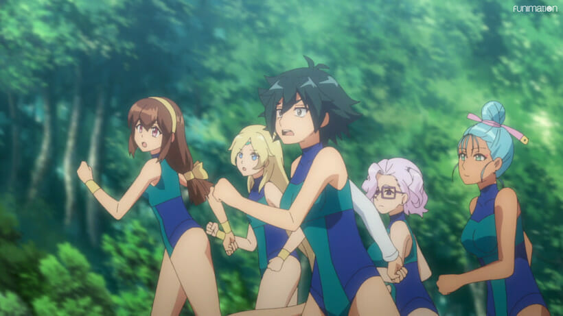Still from Battle Athletes Victory ReSTART! that depicts five women in leotards running through the forest. They're all gawking at something offscreen.