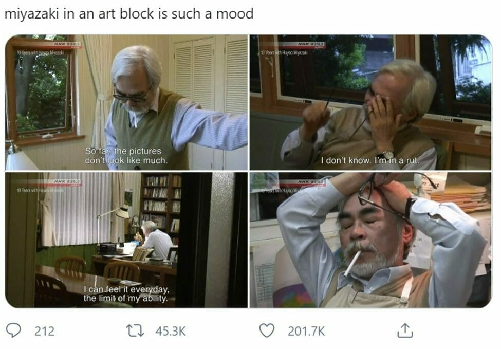 """Snapshot of a meme featuring Hayao Miyazaki. Text: """"Miyazaki in an art block is such a mood."""" Pane 1 text: """"So far the pictures don't look like much."""" Pane 2 text: """"I don't know. I'm in a rut."""" Pane 3 text: """"I can feel it everyday. The limits of my ability."""""""
