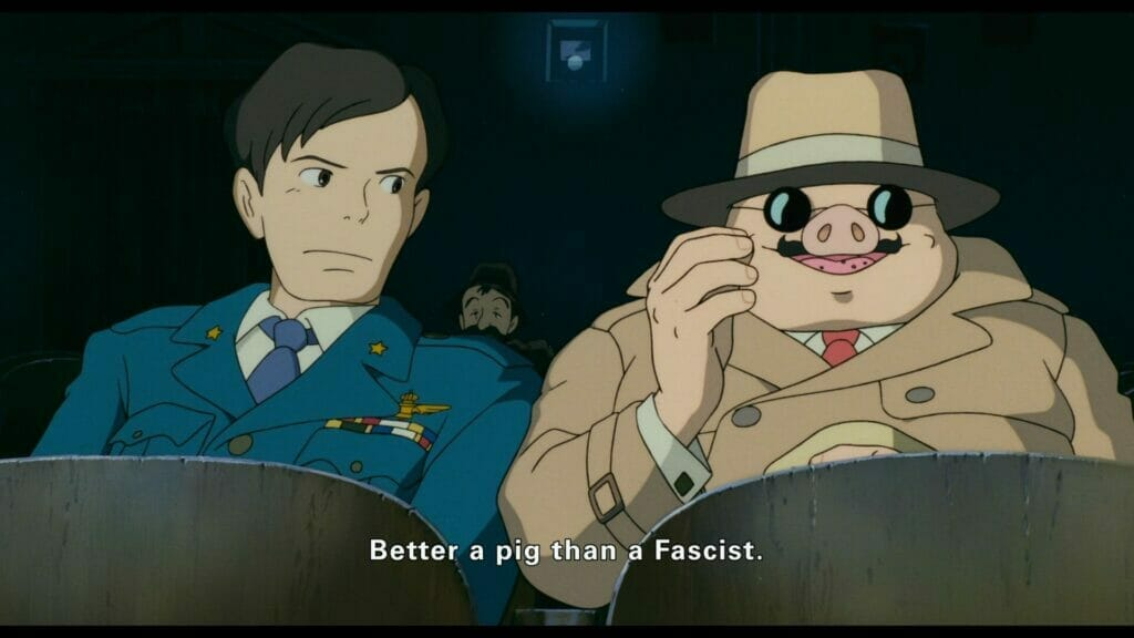Still from Porco Rosso, which features Porco sitting in a seat as a man looks over. Subtitle text: