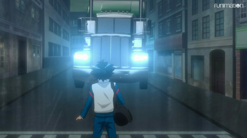 Still from Battle Athletes Victory ReStart! - A black-haired woman in a track suit stands, staring into the headlights of an oncoming big rig truck.