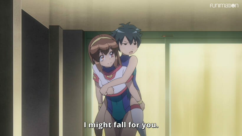 """Still from Battle Athletes Victory ReStart! - A brown-haired woman carries a nonplussed black-haired woman piggyback. Subtitle text: """"I might fall for you."""""""
