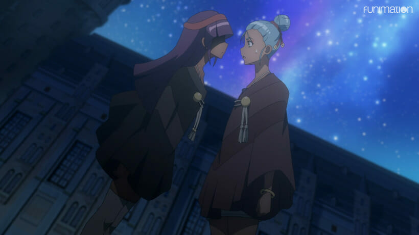 Still from Battle Athletes Victory ReStart! - A violet-haired woman stands face-to-face, confronting a blue-haired woman.