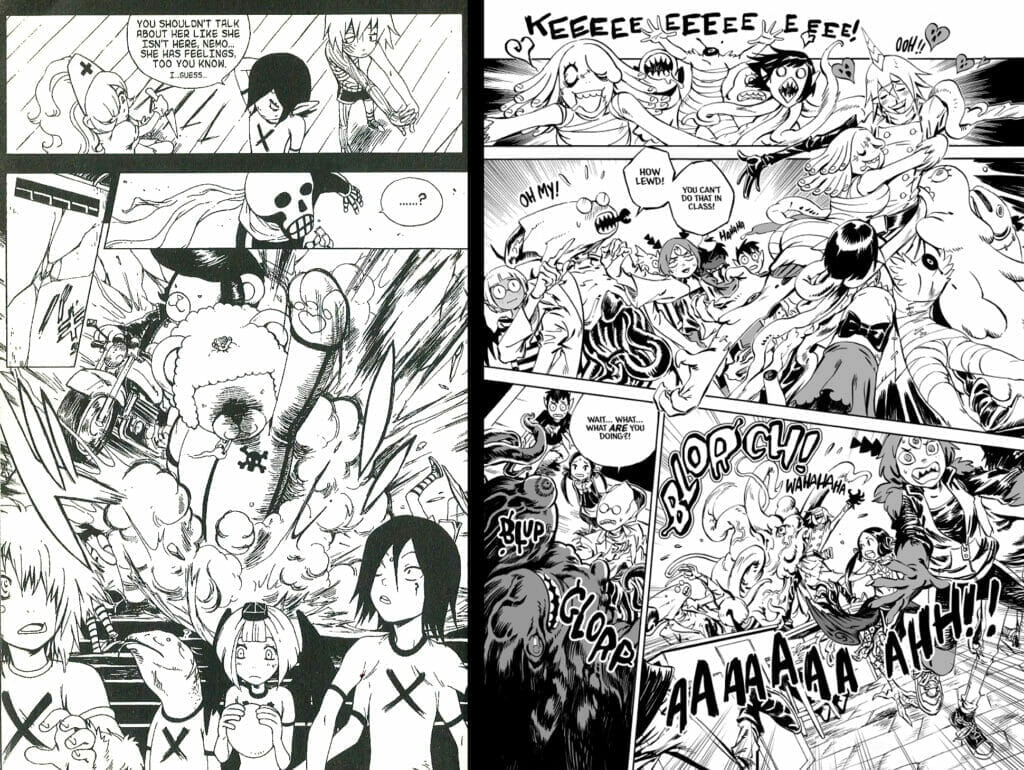 Comparison of pages from Devil's Candy, in its original run versus 2014 redraws
