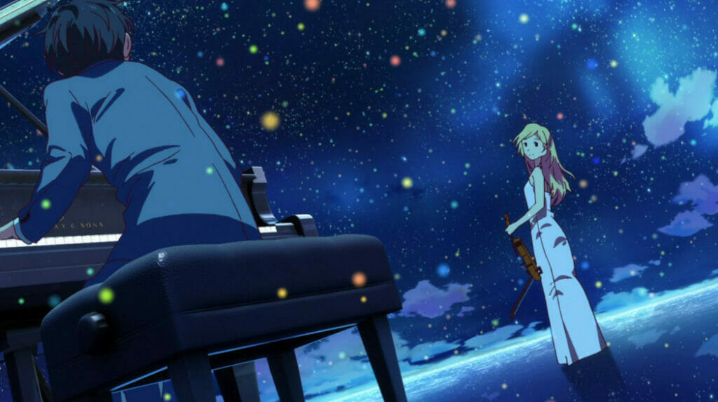 A man in a grey suit plays the piano, as he looks toward a blonde woman clad in white holding a violin. The two stand before an open night sky.