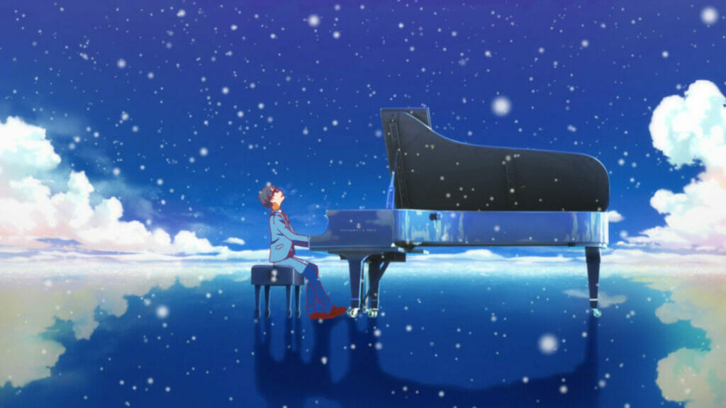 A wide-angle shot of a man in a blue suit playing the piano. The starry sky above is reflected beneath them, as flecks of light obscure the lens.